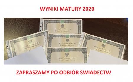 Zapraszamy po odbiór wyników Matury 2020